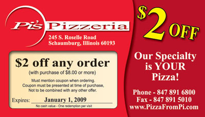 Pizza discount coupon card