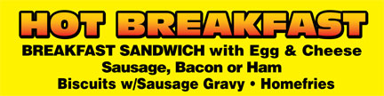 3' x 10' Hot Breakfast Vinyl Outdoor Banner